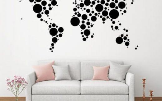 Wallstickers med verdenskort – flotte designs, god kvalitet og favorable priser